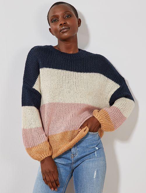 Pull en maille tricot 'rayures'                                                                                                                             marine/beige Femme
