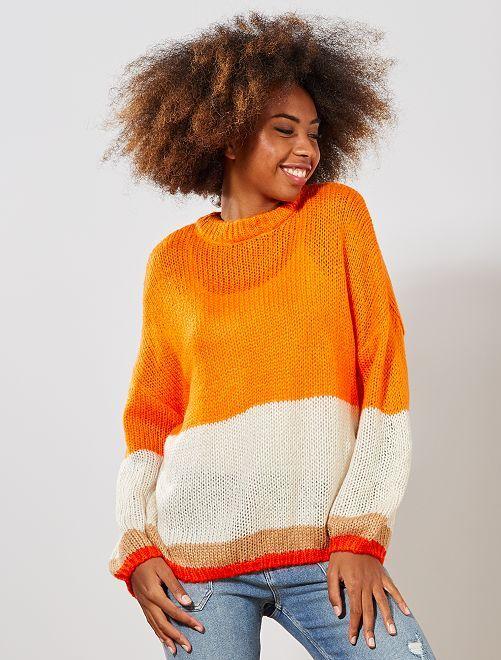 Pull en maille tricot 'rayures'                                                                                                     orange/écru