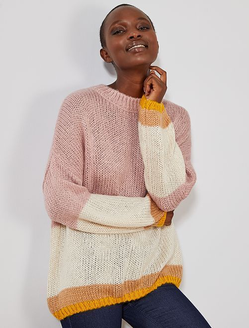 Pull en maille tricot 'rayures'                                                                                                     rose/écru