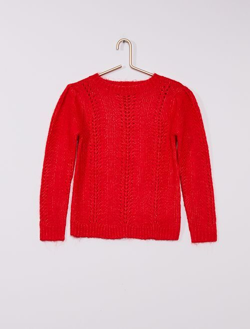 Pull en maille tricot                                                                 rouge