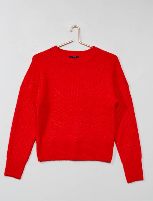 Pull en maille tricot                                                                                         rouge Fille adolescente