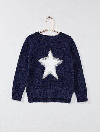 Pull 'étoile' en maille poilue - Kiabi