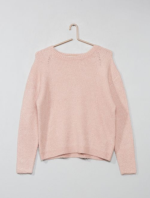 Pull fils brillants                                         rose Fille adolescente