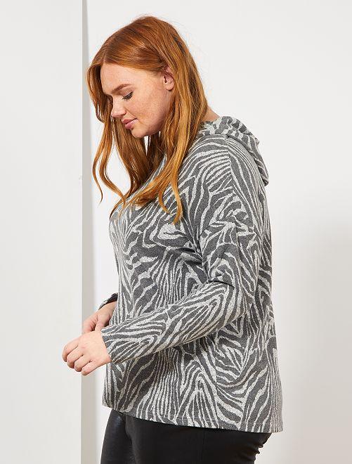 Pull fin à capuche                                         gris zèbre Grande taille femme