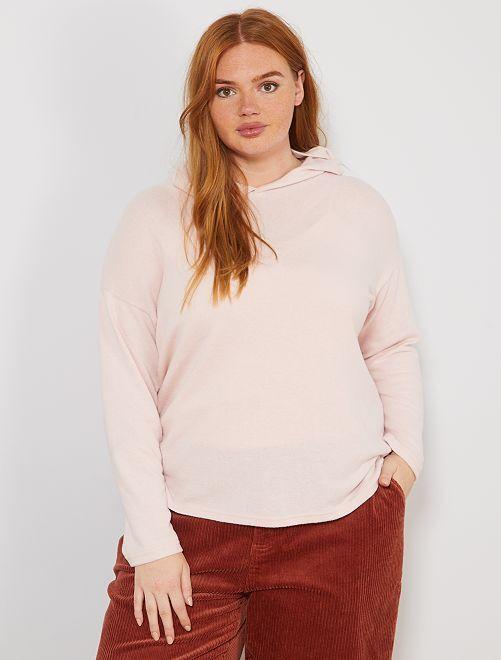 Pull fin à capuche                                         rose Grande taille femme