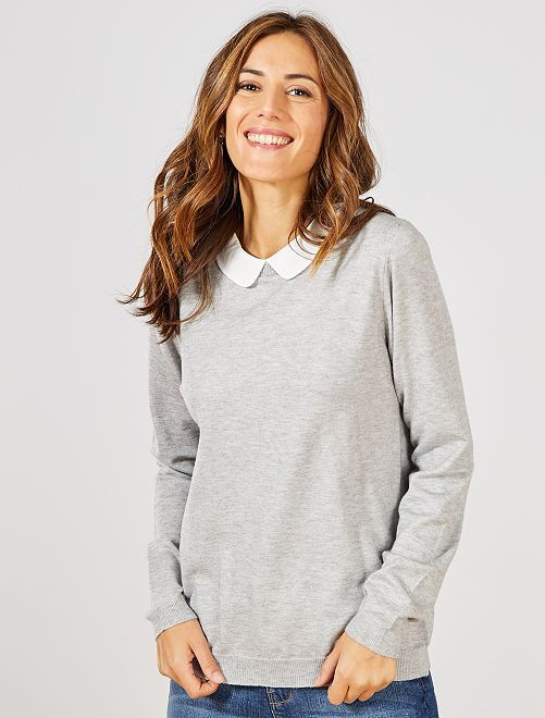 Pull fin col Claudine                                                     gris