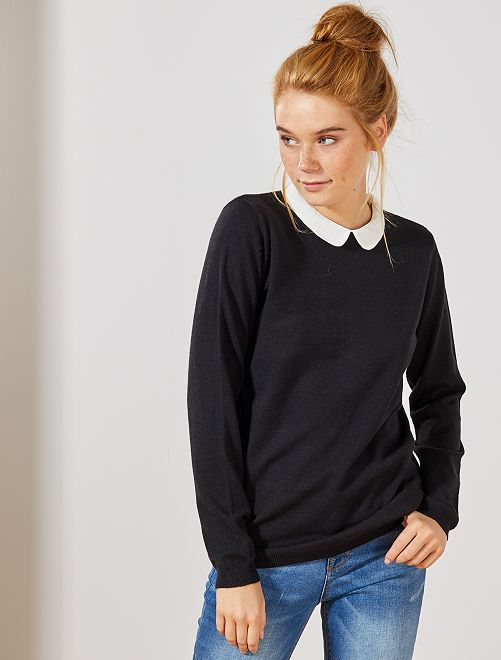 Pull fin col Claudine                                         noir