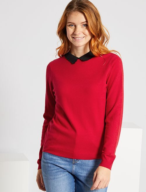 Pull fin col claudine                                                     rouge