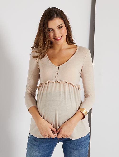 Pull fin esprit blouse de maternité                                         beige