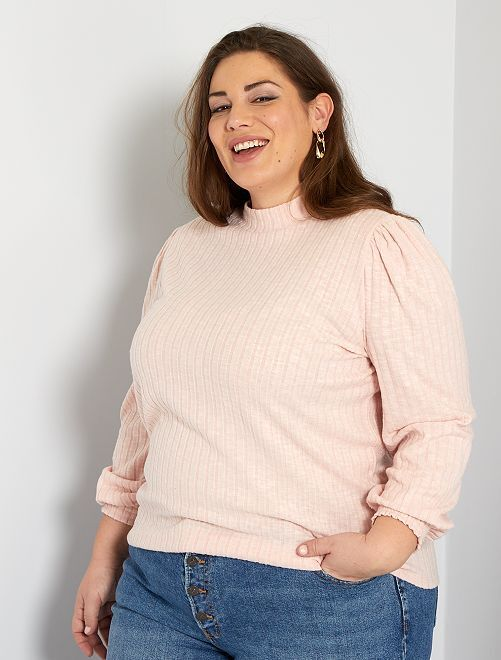 Pull fin maille doudou                                         rose clair