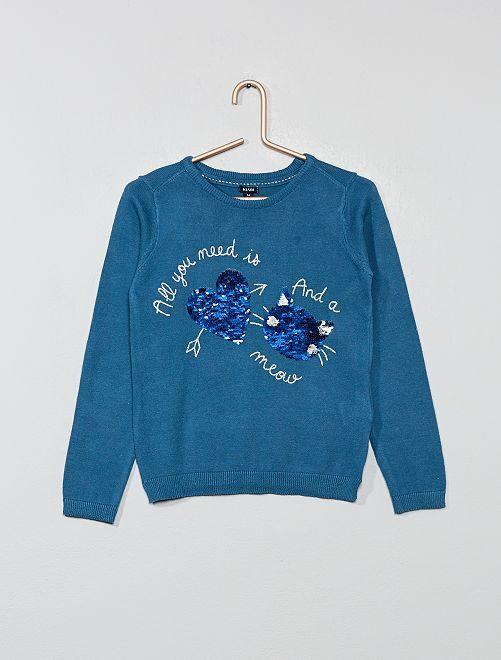 Pull fin sequins réversibles                                                                             bleu Fille