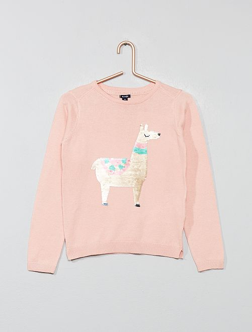 Pull fin sequins réversibles                                                                             rose pâle Fille