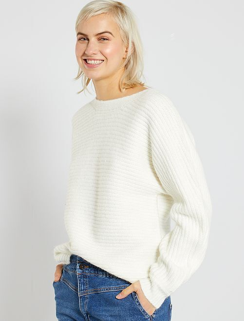 Pull grosse maille col bateau                                                                 blanc