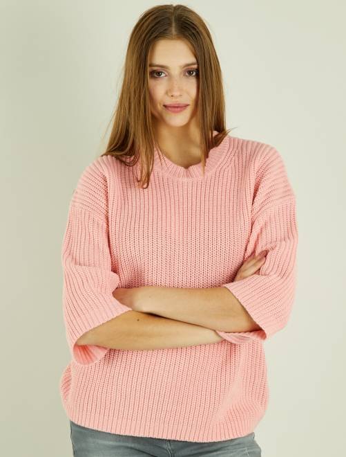 Pull grosse maille et manches larges rose Femme