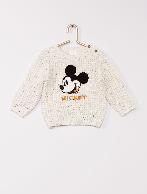 Pull grosse maille 'Mickey'                                         écru