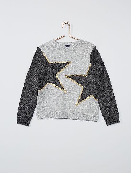 Pull imprimé 'étoiles'                                                     gris