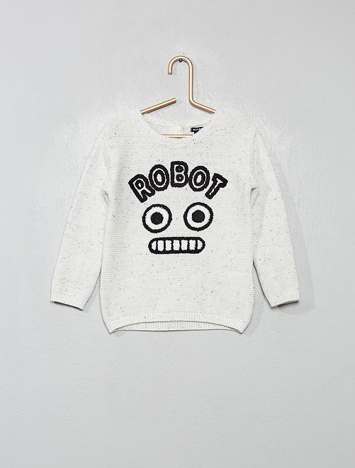 Pull imprimé 'robot'                             blanc chiné