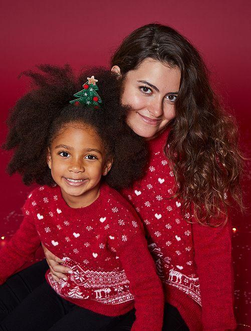 Pull jacquard de Noël                                                                 rouge coeurs