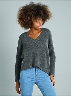 Pull taille xl - Pull large col V avec laine - Kiabi