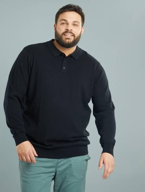 pull l ger col polo grande taille homme noir kiabi 12 00. Black Bedroom Furniture Sets. Home Design Ideas