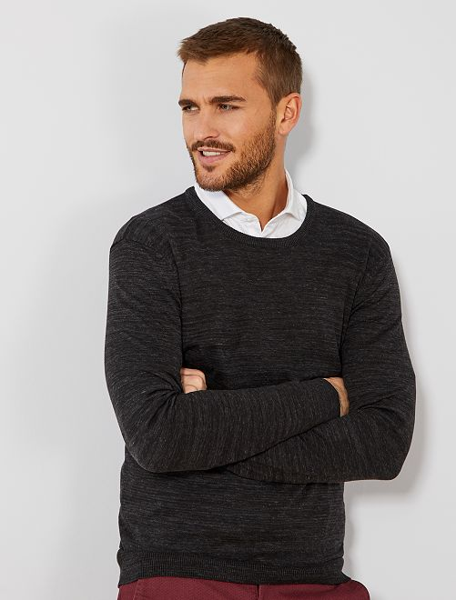 Pull léger col rond                                                                                                                                                                                         anthracite chiné