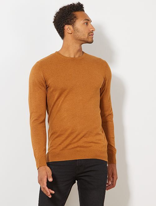 Pull léger col rond                                                                                                                                                                 caramel Homme