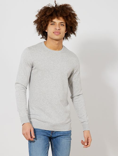 Pull léger col rond                                                                                                                                                                 gris clair chiné