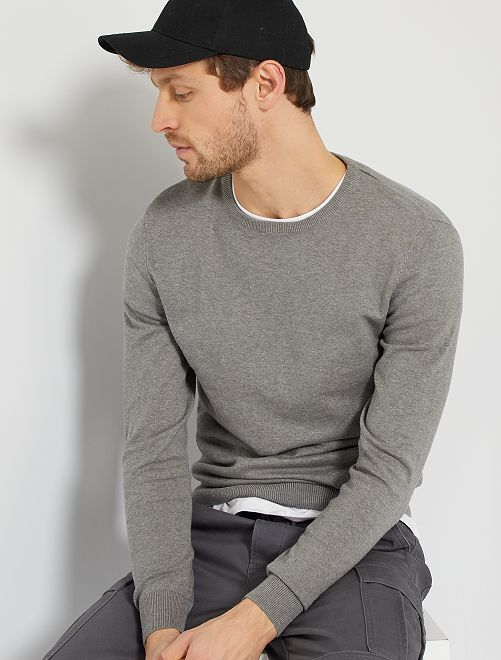 Pull léger col rond                                                                                                                                                                                                                 gris