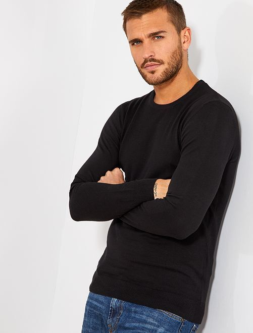 Pull léger col rond                                                                                                                                                                             noir Homme
