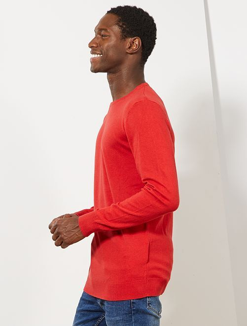 Pull léger col rond                                                                                                                                                                 rouge Homme