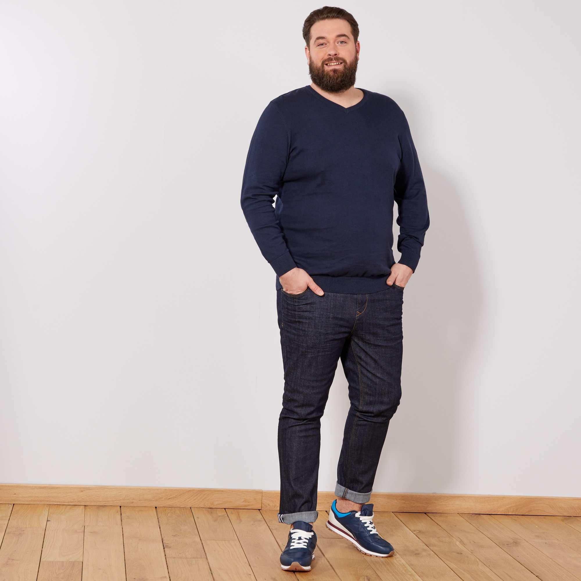 pull l ger col v grande taille homme bleu marine kiabi. Black Bedroom Furniture Sets. Home Design Ideas