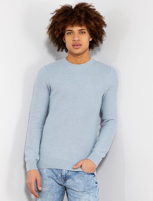 Pull léger en coton                                         bleu gris pâle