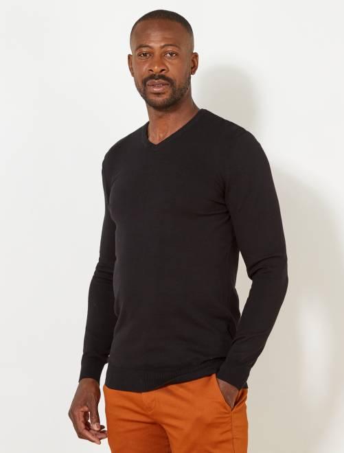 Pull léger en coton col V +1m90                             noir Homme de plus d'1m90