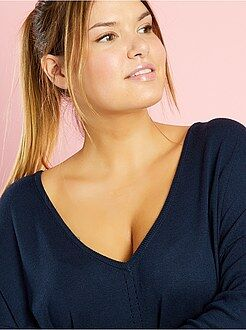 Grande taille femme Pull long fine maille