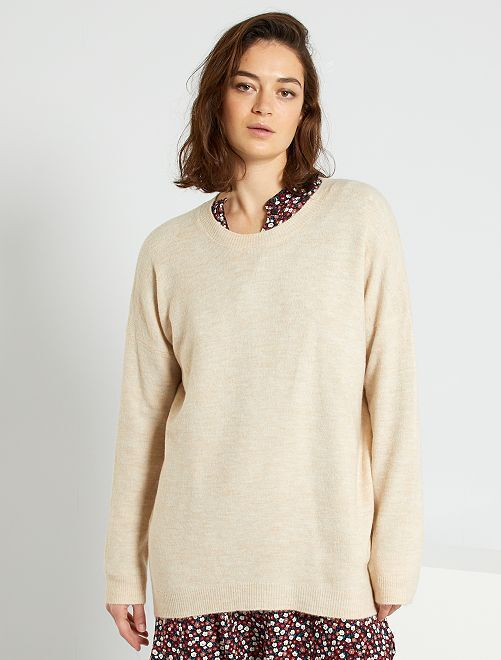 Pull long maille fine                                                                 beige