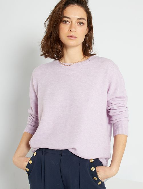 Pull long maille fine                                                                             mauve clair