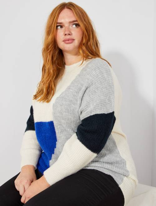 Pull loose color block BLANC Grande taille femme