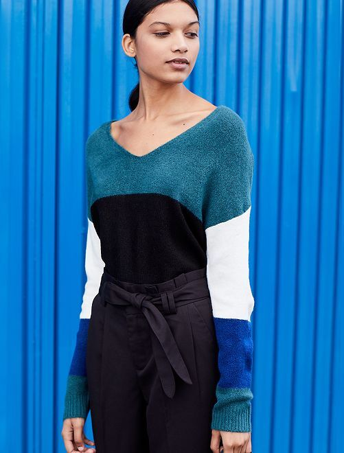 Pull loose color block                                         vert Femme