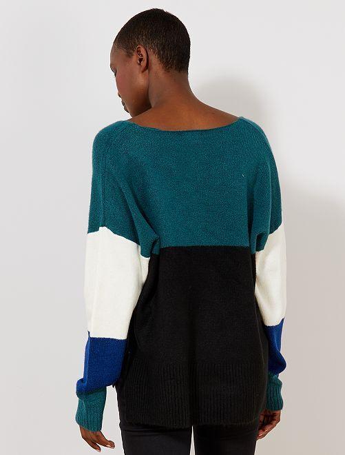 Pull loose color block Femme - Kiabi - 14,40\u20ac