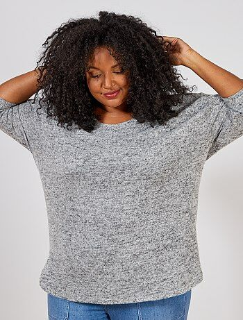 Grande taille femme - Pull loose maille chinée - Kiabi