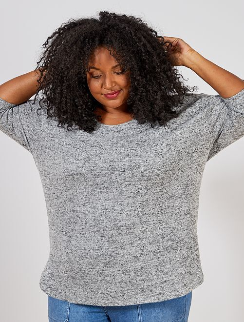 Pull loose maille chinée                                                                     gris Grande taille femme
