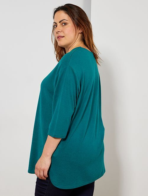 Pull loose maille chinée                                                                                                                 vert Grande taille femme