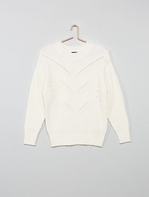 Pull maille ajourée                                                                                         blanc