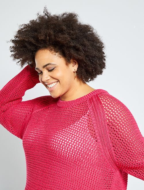 Pull maille ajourée                     fuchsia