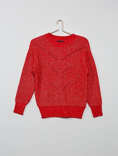 Pull maille ajourée                                                                                         rouge