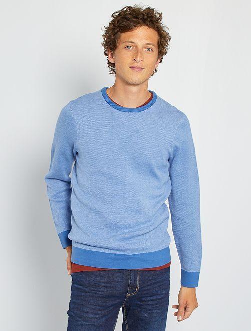 Pull maille bicolore                             bleu