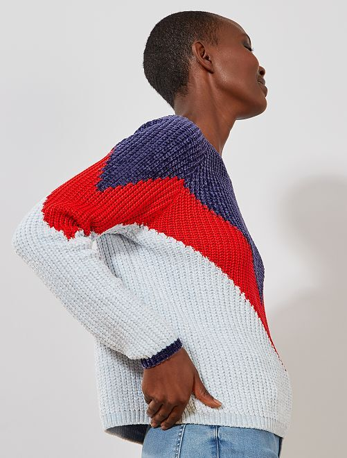 Pull maille chenille color block 'JDY'                             bleu