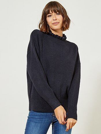 Pull maille col montant - Kiabi