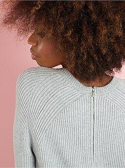 Pull - Pull maille côtelée zippé au dos