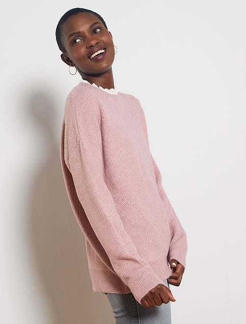 Pull maille douce col victorien                                                                 rose